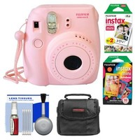 Fujifilm Instax Mini 8 Instant Film Camera (Pink) with Instant Film & Rainbow Film + Case + Cleaning Kit - Walmart.com