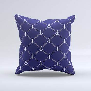 Navy Blue & White Seamless Anchor Pattern ink-Fuzed Decorative Throw Pillow