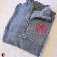Monogram Fleece Half Zip Pullover, Monogrammed Pullover, Monogram Fleece Sweatshirt, Team Pullovers, Bridesmaid Gift, Honeymoon Pullover