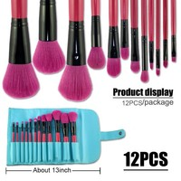 Phileex Professional 13 PCs Makeup Brush Set/kit with Pouch,Set of 12 Peachblow Brushes and 1 Peacock Blue Pouch
