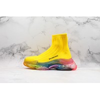 Balenciaga Yellow Knit Sock Sneakers With Rainbow Clear Sole
