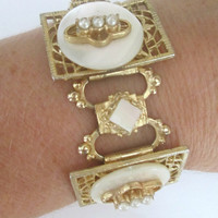 Gold Filigree Mother of Pearl Hinged Bracelet Earring Set Mid Century Jewelry