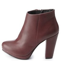 Chunky Heel Ankle Booties by Charlotte Russe - Wine