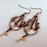 Copper and Pearl Swirl Chandeliers