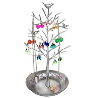 Ehdching Antique Birds Tree Stand Jewelry Display Necklace Earring Bracelet Organizer Holder (Silvery)