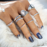 8Pcs/Set Antique Artificial Stone Mixed Size Ring Set Zinc Alloy Midi Rings For Women Steampunk Christmas Gift Jewelry  0527