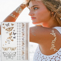 Gold silver Butterfly Temporary Tattoo Body Art Sleeve Arm kit Flash Tattoo Stickers Waterproof Tatto Henna Fake Tatoo Beauty
