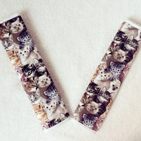 1 pair of  Car Automotive Seat Belt Covers -Cats print - Great gift for cat lovers