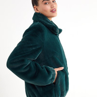UO Faux Fur Zip-Up Jacket | Urban Outfitters