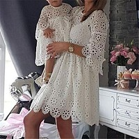 Mommy and Me Floral Lace Dress