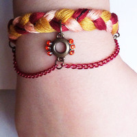 Maroon, peach and tan braided bracelet with chains, braided bracelet, chain bracelet, boho bracelet, friendship bracelet, Beadingbyjenn