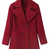 Red Lapel Woolen Coat