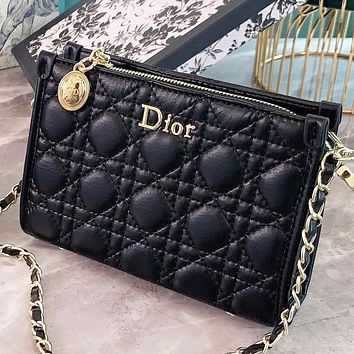 Hipgirls  Dior New Fashion Leather Chain Shoulder Bag Crossbody Bag Black