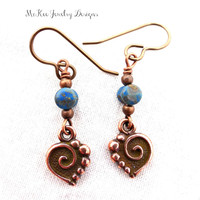 Small copper and blue Czech glass earrings. Dainty, simple jewelry.