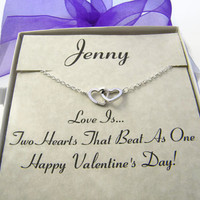 Personalized Valentine's Day Necklace , Double Open Heart Necklace , Necklace With Card