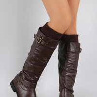 Sweater Cuff Buckle Riding Knee High Boots
