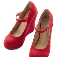 ModCloth Vintage Inspired Take the Podium Wedge in Red