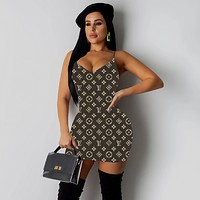 LV Newest Fashion Women Sexy Print Dress