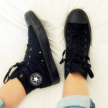 """""""Converse"""" Fashion Canvas Flats Sneakers Sport Shoes Hight tops Black"""