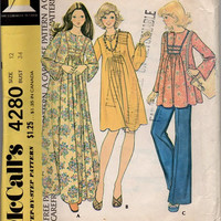 70s Sewing Pattern McCall's Maternity Dress Top Pants Long Sleeve Tunic Boho Hippie Fashion Bust 34