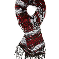 FOREVER 21 Southwestern Print Scarf Heather Grey/Red One