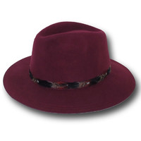Feathered For Fall Hat- Burgundy