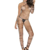 Vivace EM-8951 Diamond net one shoulder bodystocking