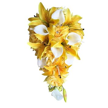 Cascade Bouquet: Sunbeam Yellow Artificial Rose, Calla Lily, and Tiger Lily Bouquet