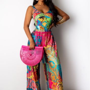 VERSACE Women Floral Print Retro Sleeveless Jumpsuit