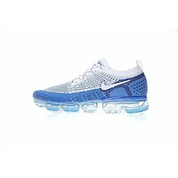 NIKE Air VaporMax Flyknit 2 Fashion Men Casual Air Cushion Sport Running Shoes Sneakers White&Blue