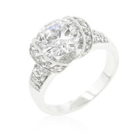 Tension Set Cubic Zirconia Engagement Ring, size : 07