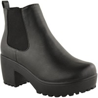 Fashion Thirsty Womens Mid Heel Block Platform Biker Ankle Chelsea Boots Shoes Size 5
