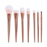 7 Pcs Plating Handle Nylon Facial Eye Makeup Brushes Set - Rose Gold