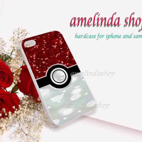pokemon ball for iphone 4/4s case, iphone 5/5s case, iphone 5c case, samsung s3 i9300 case, samsung s4 i9500 case