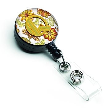 Letter Q Floral Mustard and Green Retractable Badge Reel CJ2003-QBR