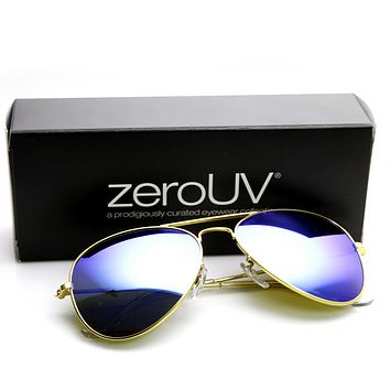 "Zerouv + Plus ""Cunningham"" Premium Mirrored Lens Aviator Sunglasses"