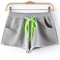 Light Grey Drawstring Waist Shorts