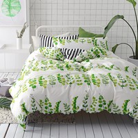 VClife Green White Cotton Bedding Sets, 3 PCS Full/Queen Leaf Bedding Comforter Cover Sets with 4 Corner Inside Ties