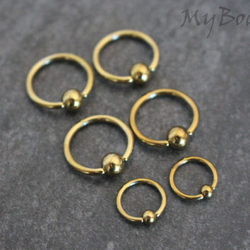 Golden Captive Bead Ring