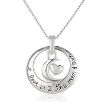 "Fashion Elegant ""I Love U 2 the moon and Back"" Circle With Heart Pendant Necklace Best Gift (Size: 46 cm, Color: Silver) = 1958061124"