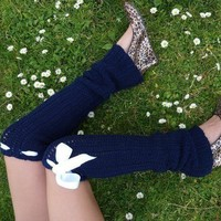 Leg Warmers Thigh High in Navy by by mademoisellemermaid on Etsy