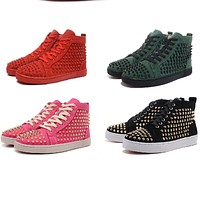 OLOME High Cut cl  Rivets Outdoor Sports Red bottom Shoes For Man Sneakers Leather Loafers Flat Footwear Lace Up