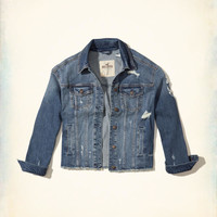 Girls Oversized Ripped Stretch Denim Jacket | Girls Jackets & Coats | HollisterCo.com