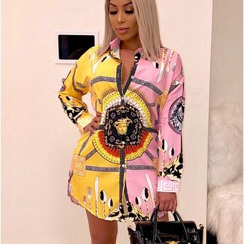 Versace Fashion New Human Head Pattern Print Leisure Contrast Color Long Sleeve Dress Women