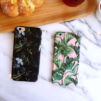Fashion brand new 4.7 flower leaf phone case for ipone 6 6s 6plus 6s plus 5.5 hard frosted back cover -0317