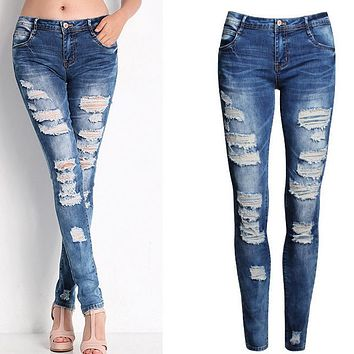 New 2017 Hot Fashion Ladies Cotton Denim Pants Stretch Womens Bleach Ripped Skinny Jeans  Holes Denim Jeans For Female