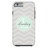 Linen, Beige Chevron Pattern, Mint Green Monogram Tough iPhone 6 Case