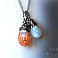 Solar Eclipse  Moonstone and Sunstone Wire Wrapped by Mayahelena