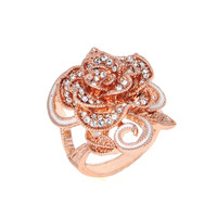 Dear Deer Rose Gold Plated Delicate CZ Pave Rose Flower Cocktail Ring