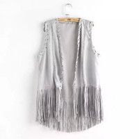 Faux Suede Leather Lace Sleeveless Tassel Top